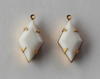 Vintage Diamond Glass Opaque White Pendant Beads 21x12mm Brass Setting