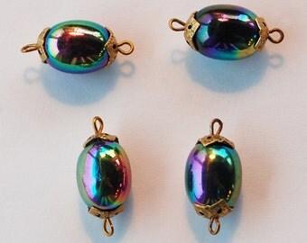 Vintage Czech Glass Oval Oblong Beads 4 Jet Aurora Borealis Ab 15mm Connectors