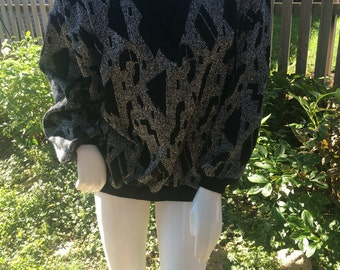 Black and silver vintage 80's sweater