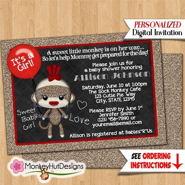 Chalkboard Girl Sock Monkey Baby Shower Invitations Chalk Love