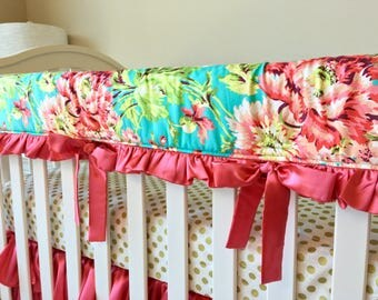 Coral Teething Rail Guard, Cow Crib Rail Guard, Bumperless Crib Bedding, Floral Rail Cover, Crib Rail Cover, Crib Rail Guard for Girls