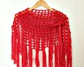 ON SALE Crochet Cover Up - Triangle Fringe Scarf- Coral Red Scarf- Boho Crochet Scarf- Fringed Shawl - Linen Wool - Bohemian Scarf- Womens G