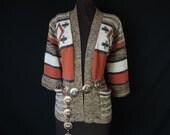 vintage southwest tribal sweater. 1970's earthy diamond pattern cardigan. large.