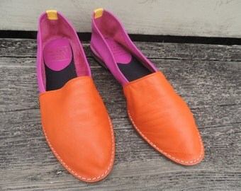 pink leather slip ons 80s fashion supple nicole color block bright flats 8 narrow