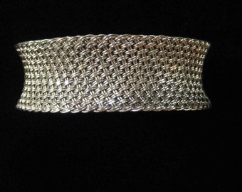 Sterling Silver Woven Mesh Cuff Bracelet