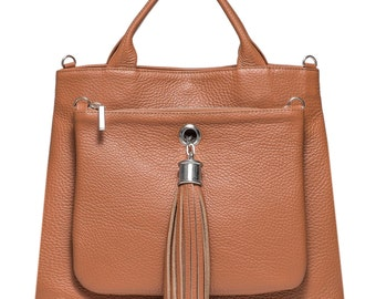 Leather Handbag with Clutch in Brown