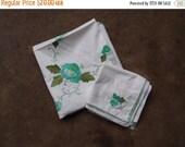 SALE SALE SALE Vintage Tablecloth and Napkins Hand Stitched Applique Cotton White Green Aqua