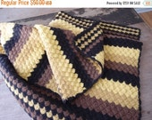 SALE SALE SALE Vintage Afghan Blanket Crocheted Shells Stripes Wool Felted Heavy Thick Southwestern Decor Maize Yellow Mustard Brown