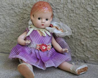 """Vintage Effanbee Patsyette Doll 1930s 40s Distressed Primitive Collectible Antique Nine Inches 9"""" Composition"""