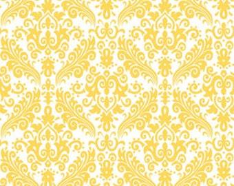 Riley Blake - Hollywood Yellow on White Damask - 1 YARD