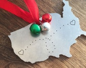 USA Ornament Personalized Christmas Ornament Long Distance Gift Ornament Gift Christmas Ornament State Ornament United States Cross Country