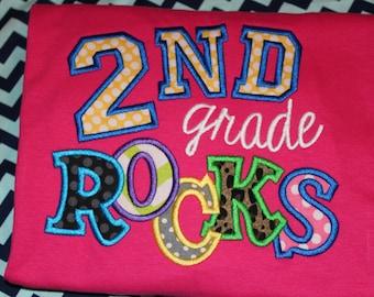 Second Grade Rocks teacher shirt personalized- 2nd grade- can change grade