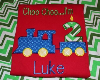 Choo Choo I'm 2 trains birthday tshirt or dress for boy or girl- any number you choose colors