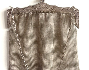 Antique Silver Mesh Purse Alpacca Hand crochet Chain Bird Engraved Germany Flapper Great Gatsby Hand Bag