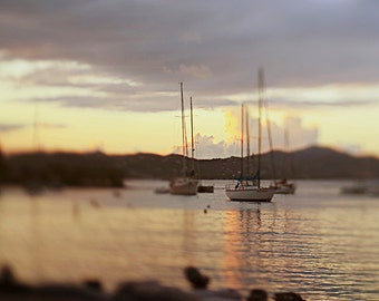 St John Sailboat Photograph, Sunset Photography, Ocean Home Decor, Caribbean Sea Wall Art, Cruz Bay, US Virgin Islands Art