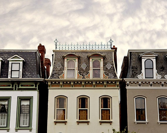"St Louis, Lafayette Square Photograph. ""Three in a Row"" Painted Ladies Architecture Fine Art Print. Affordable Home Decor and Wall Art."