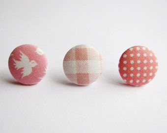 Clip On Earrings / Stud Earrings / Button Earrings  - Mix and Match Earrings in Pink - Set of 3