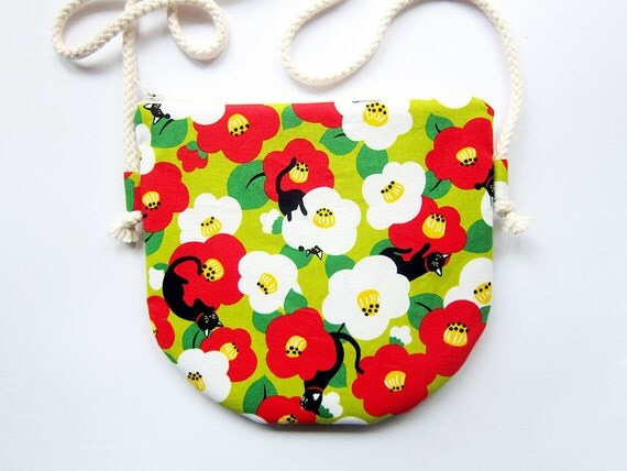 Fabric Crossbody Bag / Zipper Bag / Pouch Bag - Cats and Flowers - Choose Cotton Strap Color of Your Choice
