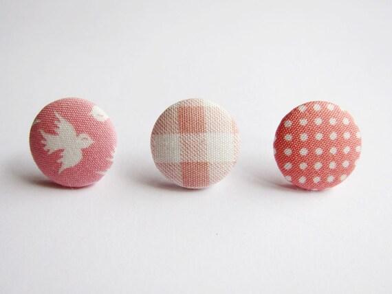 Clip On Earrings / Stud Earrings / Button Earrings  - Mix and Match Earrings in Pink - Set of 3