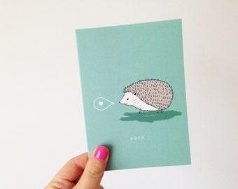 Hedgehog - XOXO - Hug + Kisses Card