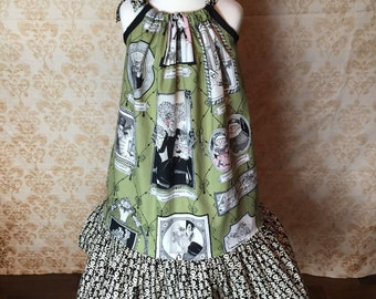 Girls size 7 Alexander Henry The Ghastlies Halloween dress with Skull and Crossbones ruffles