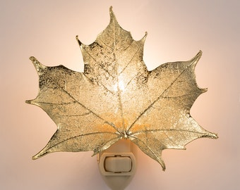 Real Sugar Maple Leaf Dipped In 24k Gold Nightlight  - Iridescent Copper Leaves