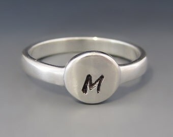 ONE Personalized & Custom Sterling ROUND Initial Ring / Mother's Ring / Stacking Ring / Mother's Day Gift / Children's / Gifts for Her