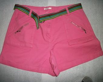 Pink  Shorts sz 16 cotton Walking  shorts  w pockets and w belt Boho on Sale