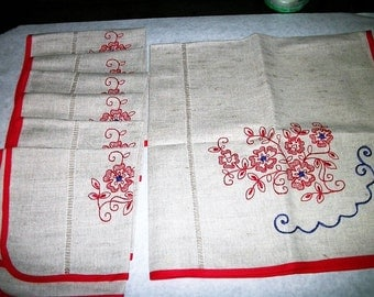 """Vintage linen tablecloth 28"""" square+ 6 Napkins  Red embroidery  NWOT  New unused on Sale"""