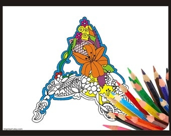 "Letter ""A"" Lilly style alphabet  Adult coloring page"