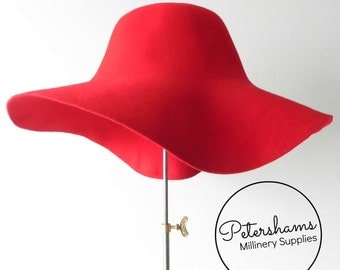 100% Wool Felt Capeline Hat Body for Millinery & Hat Making - Red Capeline