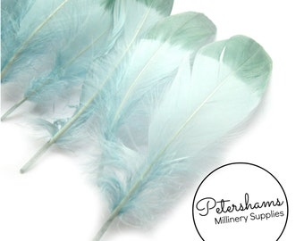 10 Dip-Dye Goose Feathers for Millinery and Hat Trimming - Aqua with Green Tips