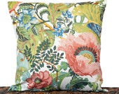 Tropical Floral Pillow Cover Cushion Beige Salmon Pink Blue Green Yellow Leaves Coastal Repurposed Decorative 16x16
