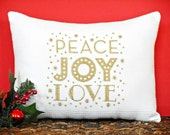 Christmas Accent Pillow Cushion Peace Joy Love Words White Gold Metallic Decorative Gift Repurposed
