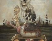 Tank girl lowbrow misfit whimsical fine art pop surreal print - War games send in the artillery III