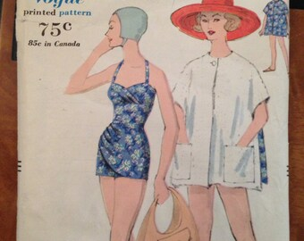 Vintage 50s Bathing Swim Suit Pattern Vogue 9749 size 14  34 bust sarong rockabilly cover up reversible beach coat halter poncho 34-26-36