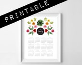 2016 PRINTABLE calendar. flower collage 1 page letter size 8.5x11in or 11x14 in. botanical calendar