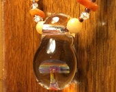 Amber Purple Mushroom 3-D Glass Pendant beaded necklace