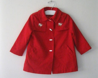 Vintage Children's 60s red coat / embroidered flowers girl's Mod Fashion jacket