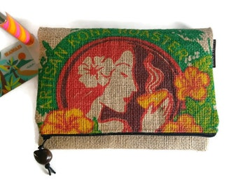 MTO. Custom. Island Girl Foldover Burlap Zipper Clutch. Repurposed Honolulu Coffee Company Coffee Bag. Handmade in Hawaii.