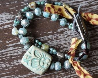 Rustic Wrap Bracelet - Ceramic Bracelet - Knotted Boho Bracelet - Light Turquoise and Yellow - Bead Wrap - Multi Strand - Bead Soup