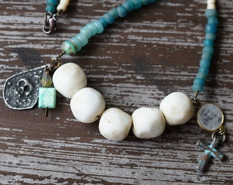 Rustic Relic Necklace - Skull Necklace - White and Teal - Primitive Necklace - Boho Rustic - Bead Soup Jewelry