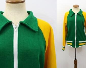 1970s Zip Up Sweatshirt Jacket Green Bay Packers Fan Yellow Track Vintage 70s Unisex Raglan Retro Slouch Hipster Boyfriend Striped