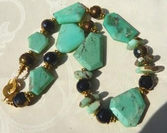 Apple Green Chrysoprase necklace, Statement necklace of huge Australian Chrysoprase, artful, designer necklace