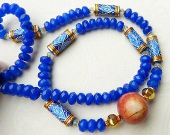 Antique Chinese Enamel Beads - blue jade, aquamarine, apple coral necklace - Beadartaustria Design