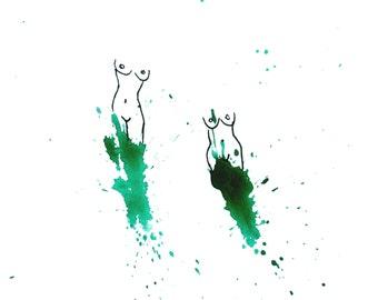 minimalist watercolor drawing print: Sirens V