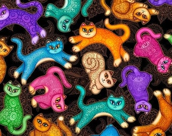 Quilting Treasures - A Tale of Two Kitties - Tossed Cats - Black fabric by the yard 24721-J