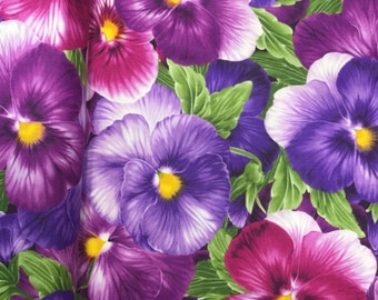 Timeless Treasures Viola Large Packed Pansy Floral Fabric by the yard C4457
