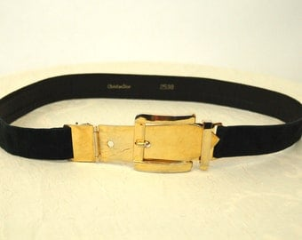 1980s Christian Dior belt black suede leather with gold metal buckle and perforated end adjustable Made in Italy Size S/M