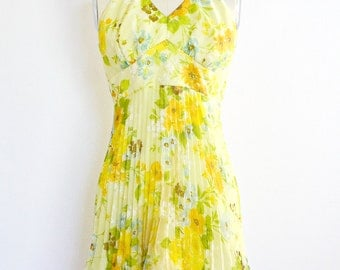 vintage 1960s dress • spring print dress • day 60s dress •  1960s day sun dress • large xl